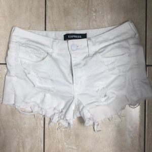 Express white jean shorts
